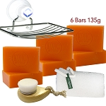 6 Bars of Kojie San Skin Lightening Kojic Acid Soap 135g ,Leafa Soap Net ,Soap Dish and Brush