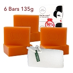 6 Bars of Kojie San Skin Lightening Kojic Acid Soap 135g and Authentic Leafa Soap Net