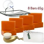 8 Bars of Kojie San Skin Lightening Kojic Acid Soap 65g ,Leafa Soap Net, Soap Dish and Brush